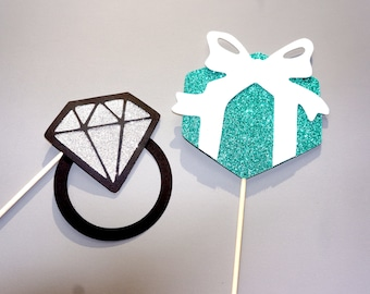 Bridal Shower Gift Box and Diamond Ring - Bridal Showers, Weddings, Parties - GLITTER Photobooth Props