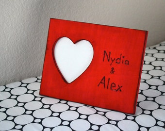 Valentine photo frame engraved with names perfect gift for him or her! Ships on monday