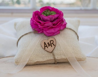 Magenta Ranunculus flower custom ivory burlap ring bearer pillow  shabby chic with engraved heart  initials... many more colors available