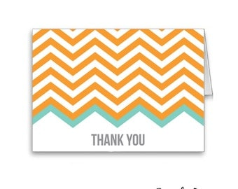 Tangerine Chevron Thank You Cards (Set of 10)