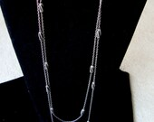"""Antique Vintage Georgian VICTORIAN STERLING SILVER  Long Chain Necklace  61"""" Long  Weight: 39.7 gr"""