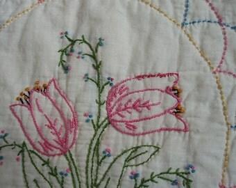 Vintage Embroidered Tulip Quilt