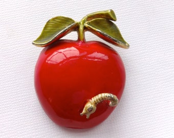 Vintage Original by Robert Worm in Apple Brooch Retro Figural Whimsical Jewelry