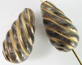 10 Vintage 18mm Gold and Light Black Carved Teardrop Lucite Beads Bd1131