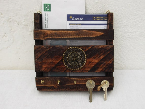 Rustic mail holder and key rack wooden wall hanging letter - Wooden letter and key holder ...