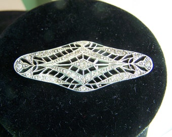 Antique 1940's Sterling Silver & Rhinestone Brooch by STERLINGBAR - Stunning Pin with Crystals
