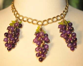 Handmade Vintage Purple Cluster of Grapes Necklace