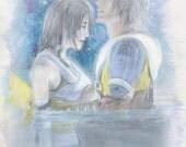 8x16 - FFX Yuna & Tidus Love Scene in water