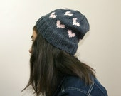 Valentine Grey Hat with Pink Hearts - Beret - Beanie - Fall Winter Fashion - Women Teens Accessories