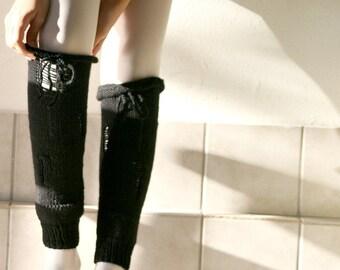 Knit Torn Leg Warmers in Black - Fall Winter Fashion - Women Teens Accessories - Autumn Trends
