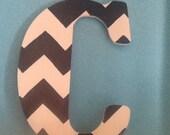 Large Chevron Letters- door decor monogram painted initial chevron letter