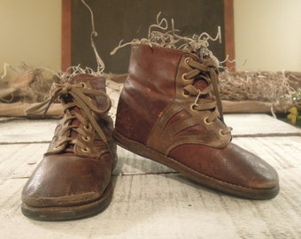 Vintage / Antique Leather Shoes Lace Up for a Young Boy / Edwardian boys Shoes