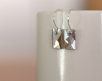 Sterling Silver Earrings, Swarovski Crystal Earrings, Silver Rose Gold Mirror Silver Foil Earrings, Hoop Earring Wire, Pink Rose Gold