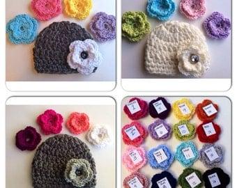 Baby Girl Hat--SALE--interchangeable flowers -crochet- newborn- toddler -child sizes