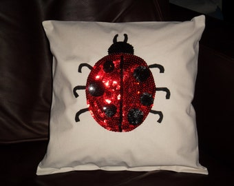 Ladybug Pillow 14 X 14 pillow form included