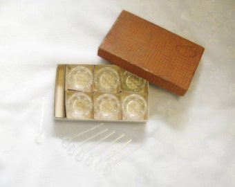 Glass Salt Cellars and Glass Spoons - 6 of Each with Extra Spoon - Original Box - Salt and Pepper - Vintage