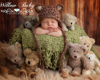 READY Baby Boy Hat - Baby Hat - Baby Bear Hat - Baby Girl Hat- Earflaps & Ties with pom pom's 2 Color Choices