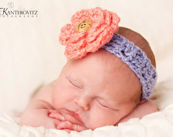Gorgeous Baby Headband Purple with Coral Flower and Wood Button - More Colors Available 0-12 months SHIPS FREE with any other item