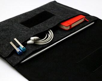 "13 inch Macbook Air case, Macbook Air Organizer, Apple MacBook AIR bag, 11"" Laptop Case Cover - Dark Gray & Black - Weird.Old.Snail"