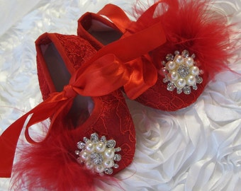 Baby girl   Red  lace  shoes,,Booties -Baby Crib Shoes -Baby shoes.