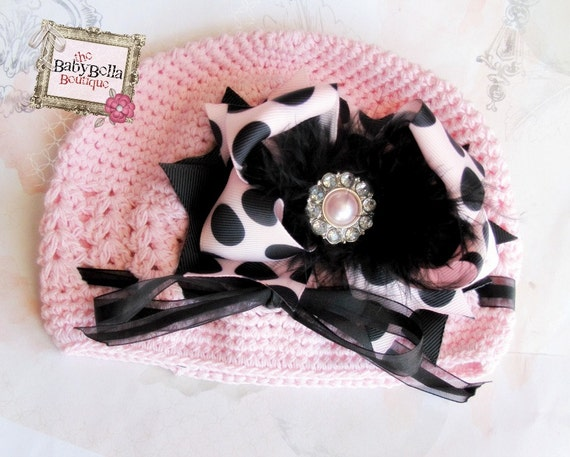 Toddler /newborn Baby Girl pink Crochet Hat with Pink and black polka dots Boutique Bow,Girl Hat.