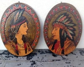 Native American set wall hang Indian Chief and bride