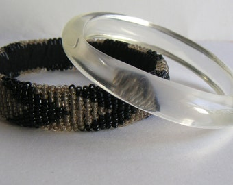 Vintage Bracelets/Bangles, Lucite,Beaded,,Hand Beaded, Seed Beads, Valentines Day,Birthday