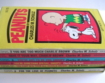 Two Vintage Peanuts Book Sets,Charles Schulz  Snoopy,Peanuts Gang,Charlie Brown,Personal Library,Gifts,Total of Eleven Books