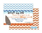 SURFER BOY Birthday Invitation-CHEVRON Stripes-Custom Digital or Professionally Printed Invitation