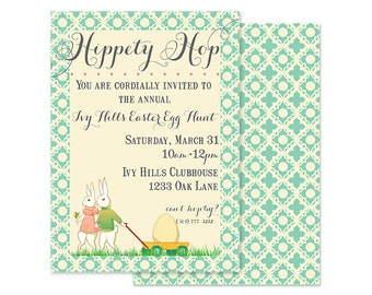 EASTER Invitation, HIPPETY HOP- Custom Printable-As seen on Amy Atlas Events
