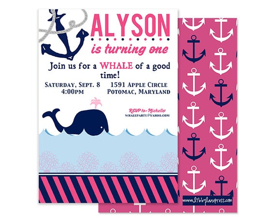 PREPPY WHALE Birthday Invitation, Pink and Navy, Nautical , Custom Printable