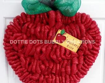 Teacher Appreciation Apple Mesh Wreath