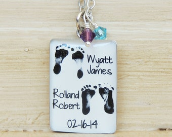 Baby Footprint Necklace - Mom Necklace - Mother's Day - Mother's Necklace - Twins Necklace - Baby Footprints - Footprint Jewelry - Baby Loss