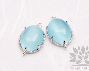 F122-S-AQ// Silver Framed Aquamarine Cats Eye Smooth Oval Glass Connector, 2 pcs