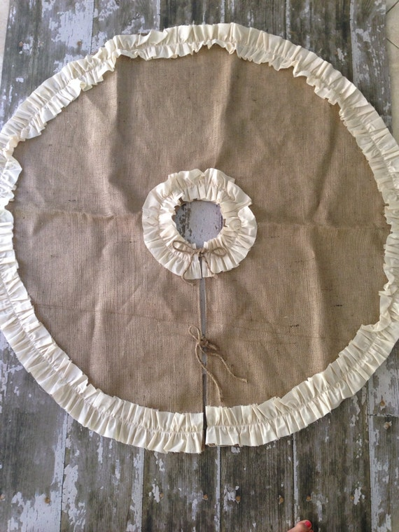 Items similar to burlap christmas tree skirt with cotton