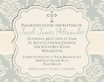 Blue Damask Boy Baptism or Christening Invitation -  Printable Invite