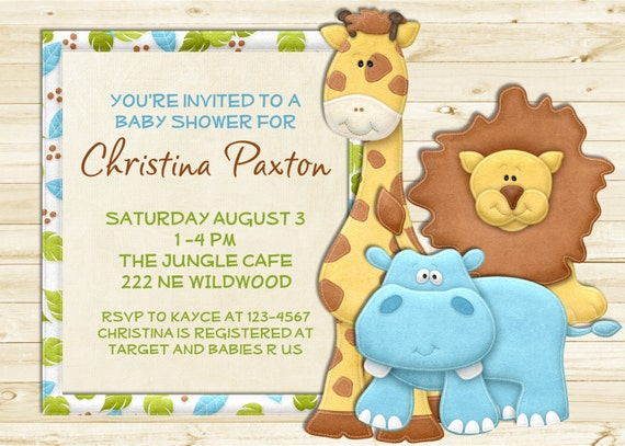 Rustic White Wood Jungle Animals Boy Baby Shower Invitation