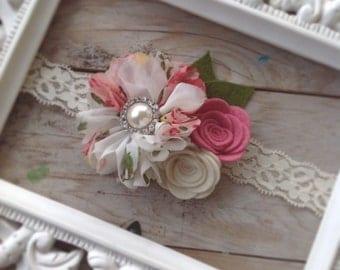 Vintage Inspired Felt Rose and Chiffon Flower Lace Headband Photography Prop Newborn Headband Baby Girl Headband Toddler Headband