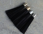 Black Nubuck (Cowhide) TASSEL in 13mm  Gold, Silver, Antique Brass or Antique Silver Plated Cap- Pick your tassel cap