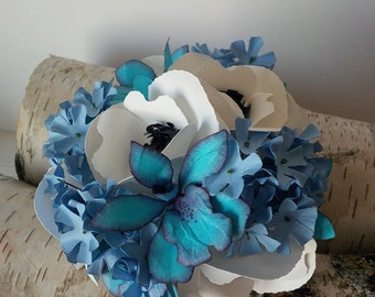 Blue orchid wedding cake topper, white and black anemones, blue hydrangeas, paper flower wedding cake topper, unique , something blue