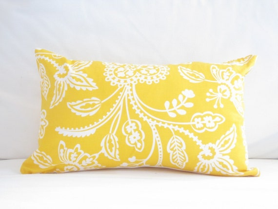 lumbar pillow cover yellow chair pillows 12x18 inch decorative pillow