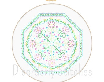 Mandala 2 Hand Embroidery PDF Pattern Instant Download Floral Flowers