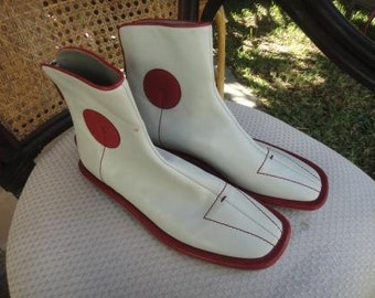Prada wrestling shoes 51/2 36 Leather offwhite and red zip up back