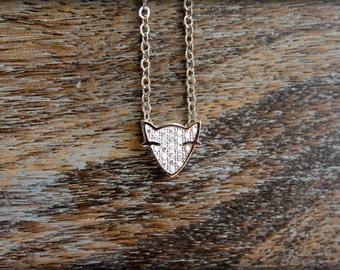 Diamond Encrusted Fox Head Necklace in Silver
