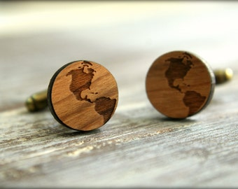 World Globe Cuff Links, Laser Cut Wood