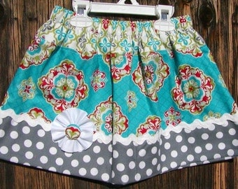 Girls skirt, Infant skirt, toddler skirt, Custom..Flower Power..sizes 0-6 mon, to10 girls