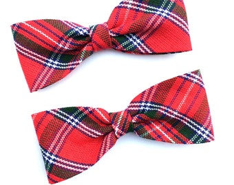 "x2 Red Tartan Plaid ribbon bows 3"" Rockabilly Hair Bows on clips"
