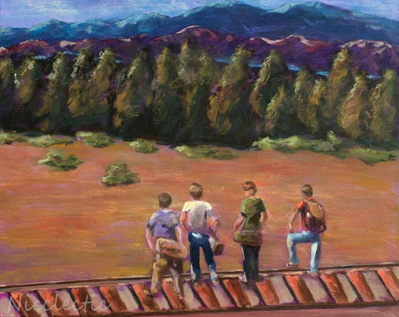 Stand By Me, best friends, friendship, boys, 80s movies, River Phoenix, movie scene, boys bedroom decor, 1980s, railroad tracks, outdoors