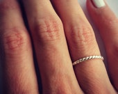 Sterling silver ring, twist ring, stacking ring- midi ring, stackable ring
