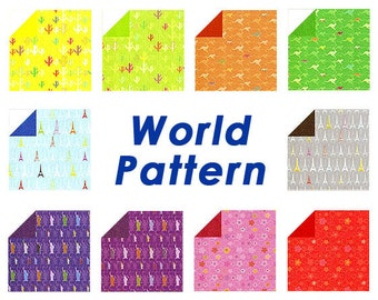 Golden World Pattern- Double Sided Origami Paper - 20 Sheets